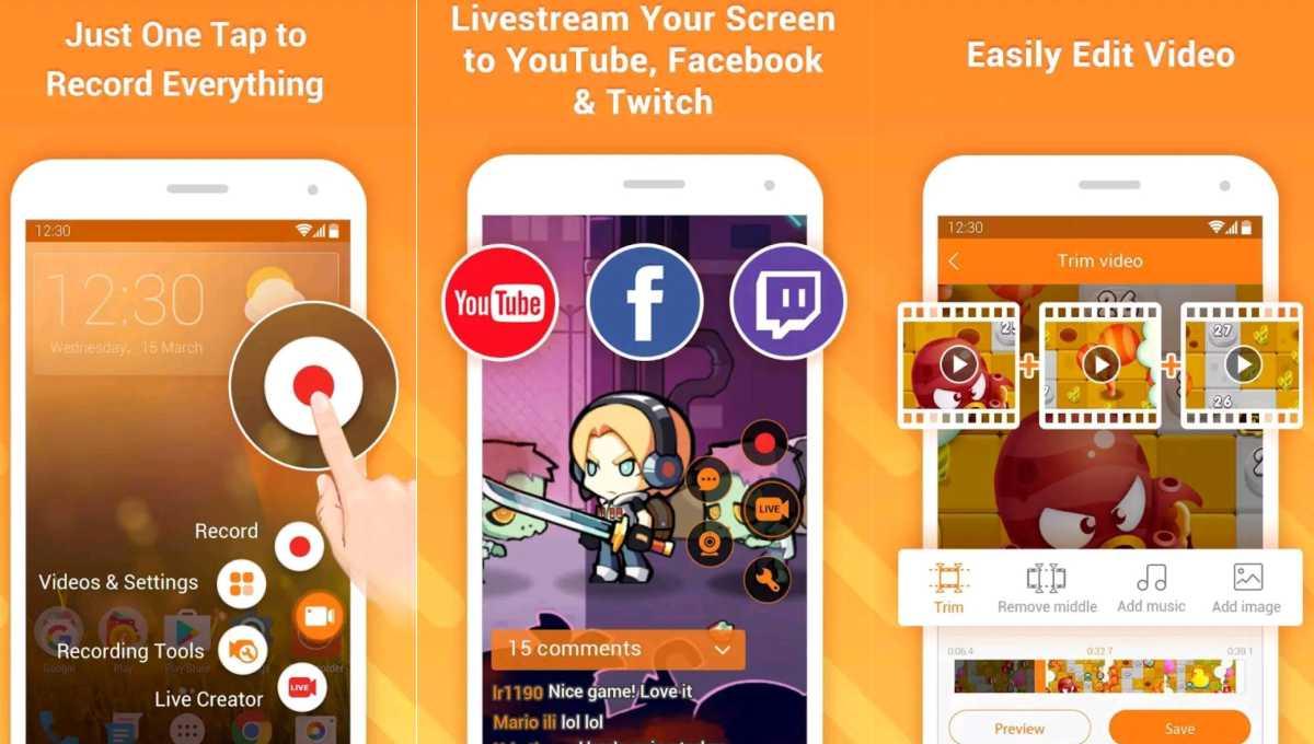 top 5 mejores app para grabar pantalla en android