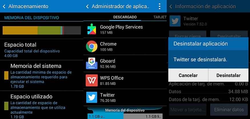 Administrador de aplicaciones y almacenamiento en Android